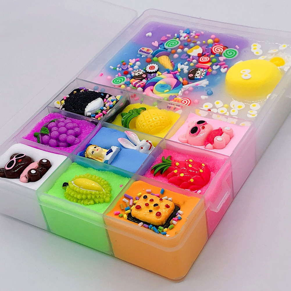 Plasticine Stress Relieve Art Ten Grids Fluffy Slime Cute Cartoon Funny Craft Kids Toys DIY Decoration Non Toxic Gift