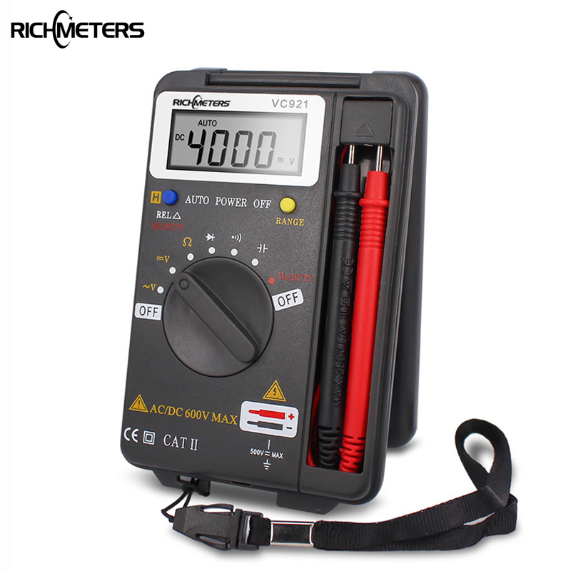 RICHMETERS VC921 Mini Digital Multimeter True-RMS Auto Range Frequency AC/DC Voltage 4000 counts pocket size meter new vc921 3999 dmm victor mini integrated handheld pocket digital frequency multimeter free shipping