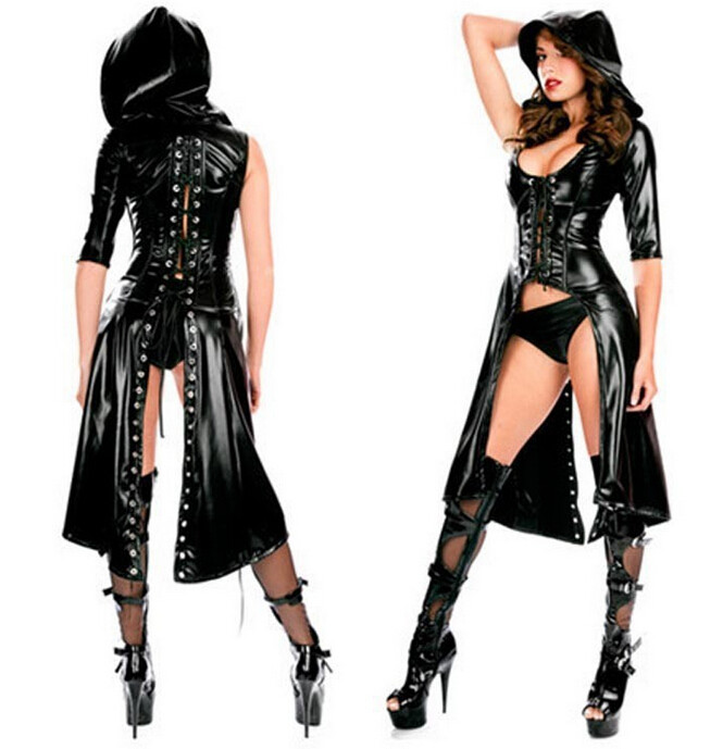Vocole Donne Sexy Lace-up Con Cappuccio Del Cuoio Del Faux Wetlook Lingerie Gothic Punk Erotica Fetish Mantello Cappotto Clubwear Costume Con Il Miglior Servizio