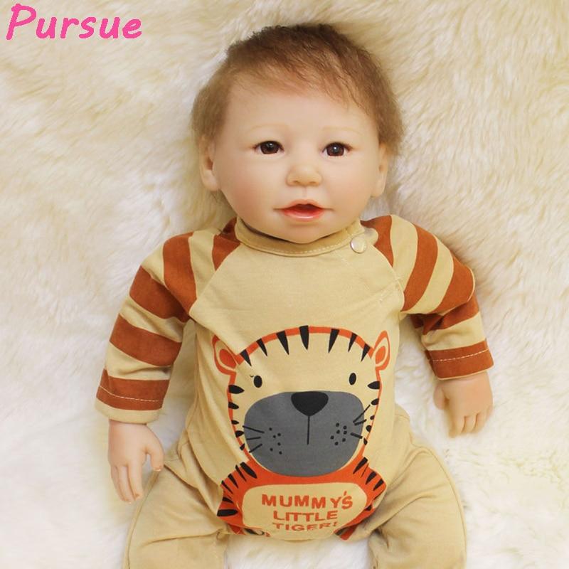 Pursue 50 cm Life Like Newborn Doll Baby Real Silicone Reborn Babies Boy for Boys Girls Birthday Gift Playmate Reborn Babies 50