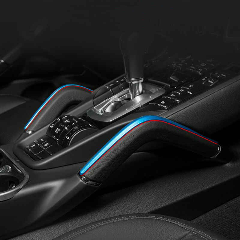 Car Styling Central Armrest box trim strips Inner Handrails decoration sequins cover 3D Stickers for Porsche