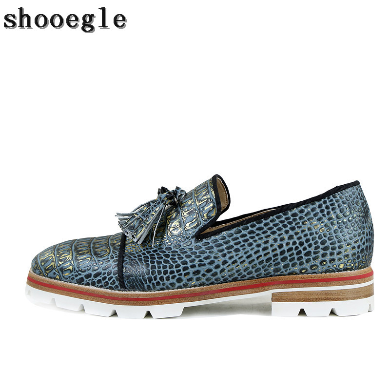 SHOOEGLE 2018 New Men Snakeskin Slip-on Oxfords Shoes Men Camping Derby Shoes Fashion Handmad Casual Dress Shoes Big Size 47
