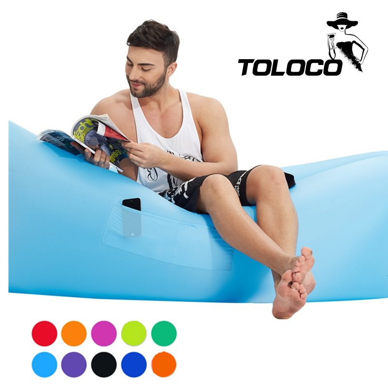 Fast Inflatable hangout Camping Sleep Bed Air Sofa Beach Bed Banana Lounger Air Bed Lazy Sleeping <font><b>Bag</b></font> With Side Pocket