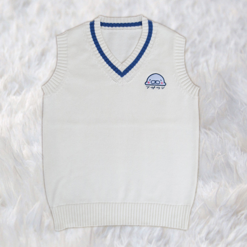 9951b49d02a0 Cute Little White Seal Embroidery Japanese JK School Uniform Sweater ...