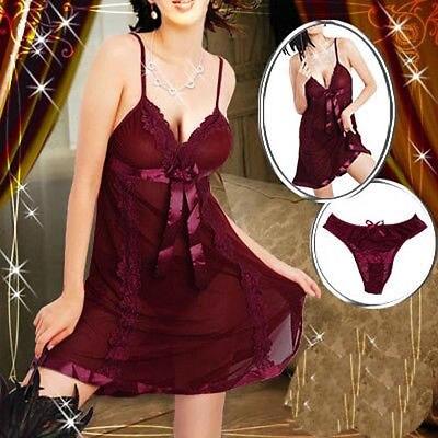 Ny mode Plus Size S-6XL Mörkröda Sexiga Underkläder Babydoll Sleepwear Chemise Snabb leverans Sexiga Underkläder Kostymer