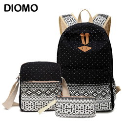 DIOMO Canvas School bags Set For Girls Female Backpack Schoolbags High Quality Backpack Feminine Book Bag