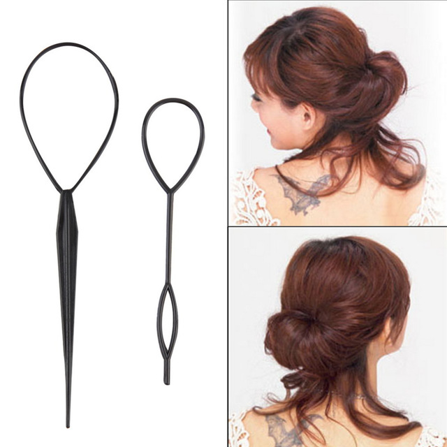 1Set(2pcs) Plastic Hair Loop Styling Tools New Magic Topsy Tail Hair Braid Ponytail Styling Clip Bun Maker For Girls Hairstyles image