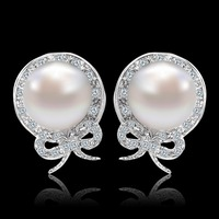 Luxury Bowknot AAA Cubic Zircon Gold Plated Stud Earrings White Simulated Pearl Earring Women Party Jewelry