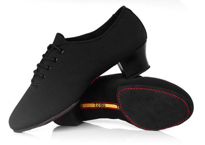 Men Shoes Latin Dance Shoes Adult Two Point Soles Teacher Shoes Soft Dance Shoes Male Oxford Cloth Heel 4.5cm adult 1 5 heel baby louis character tap shoes t9800