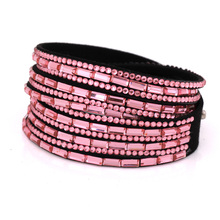 new multilayer leather bracelet christmas gift charm crystal bracelet rhinestone vintage jewelry for women 2016