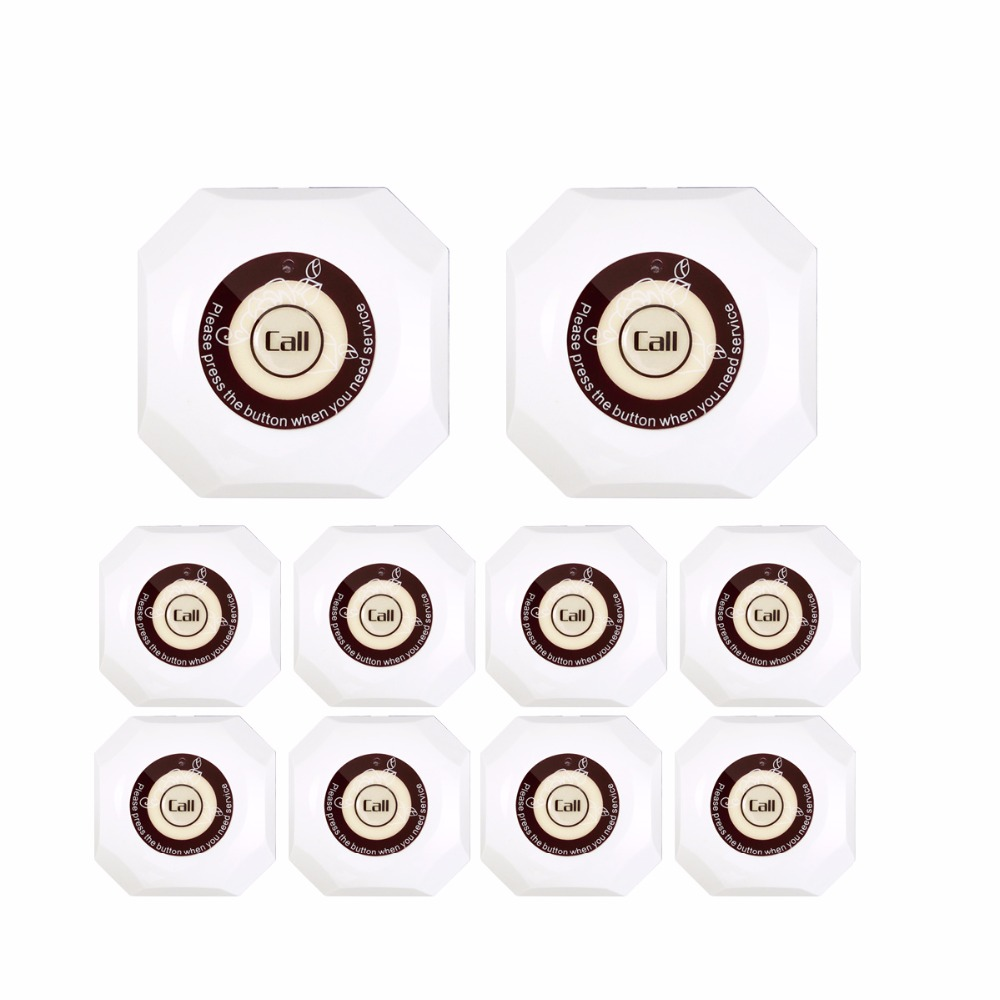 10pcs Wireless Restaurant Club Clinic Calling System Call Transmitter Button 433.92MHz  Pager Waterproof Equipment F3293B2 10pcs 433mhz wireless calling system call button for restaurant hotel waiter transmitter pager bell waterproof equipment f3256l