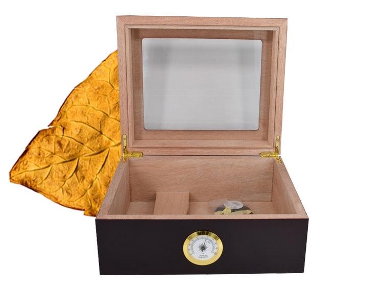 Cedar Wood Lined Cigar Humidor Storage Cigar Box Case w Cigars Wooden Tray Hygrometer Humidifier Red/Black
