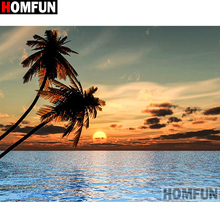 HOMFUN Full Square/Round Drill 5D DIY Diamond Painting Sunset scenery 3D Embroidery Cross Stitch Home Decor A21366