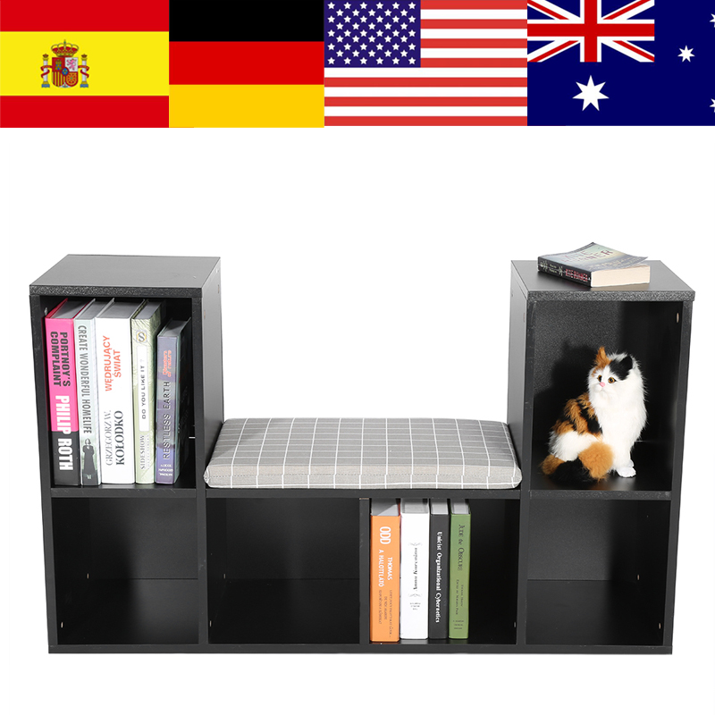 Storage-Shelf Wood With Reading Rack Office Home-Furniture 6-Grids Multi-Functional