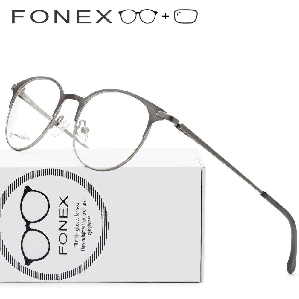 d82792ff01 Aleación de titanio gafas marcos miopía óptico de las mujeres de los hombres  Vintage redondo gafas Retro sin tornillos gafas con lentes en Gafas de sol  de ...