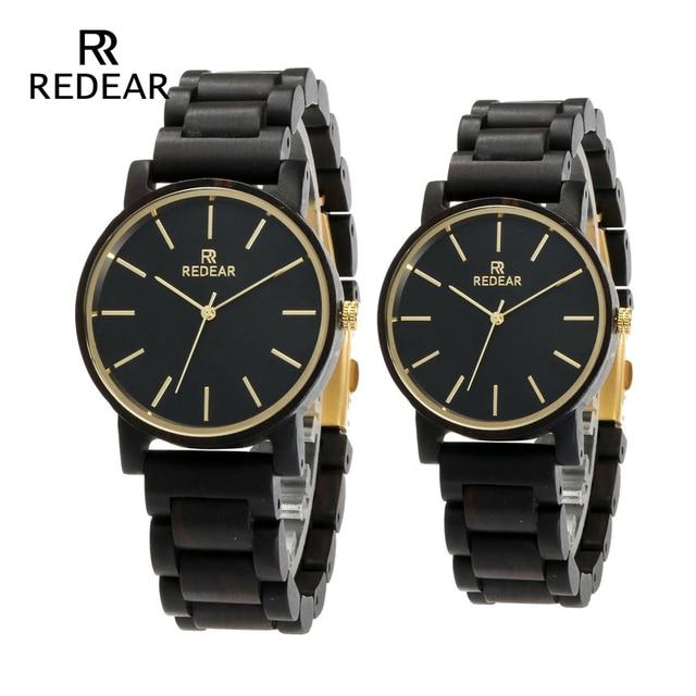 REDEAR Free shipping Brand Bamboo Watch Fashion Black Couple Watch Japan Quartz