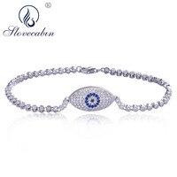 Slovecabin European Popular 925 Sterling Silver 2018 Fashion Woman Bracelet Cubic Zircon Evil Eye Charm Crystal Chain Bracelet