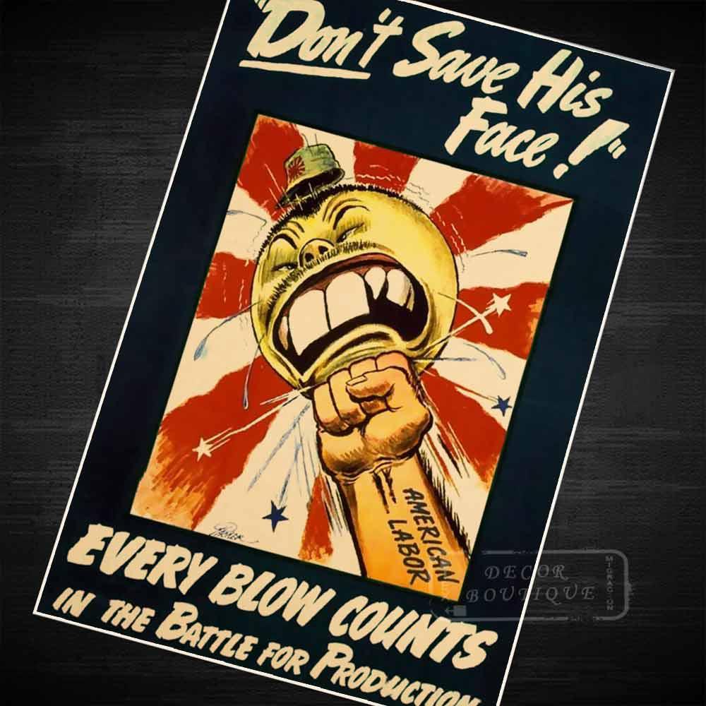 WWII ANTI ITALY GERMANY JAPAN PROPAGANDA POSTER PAINTING REAL CANVASART PRINT