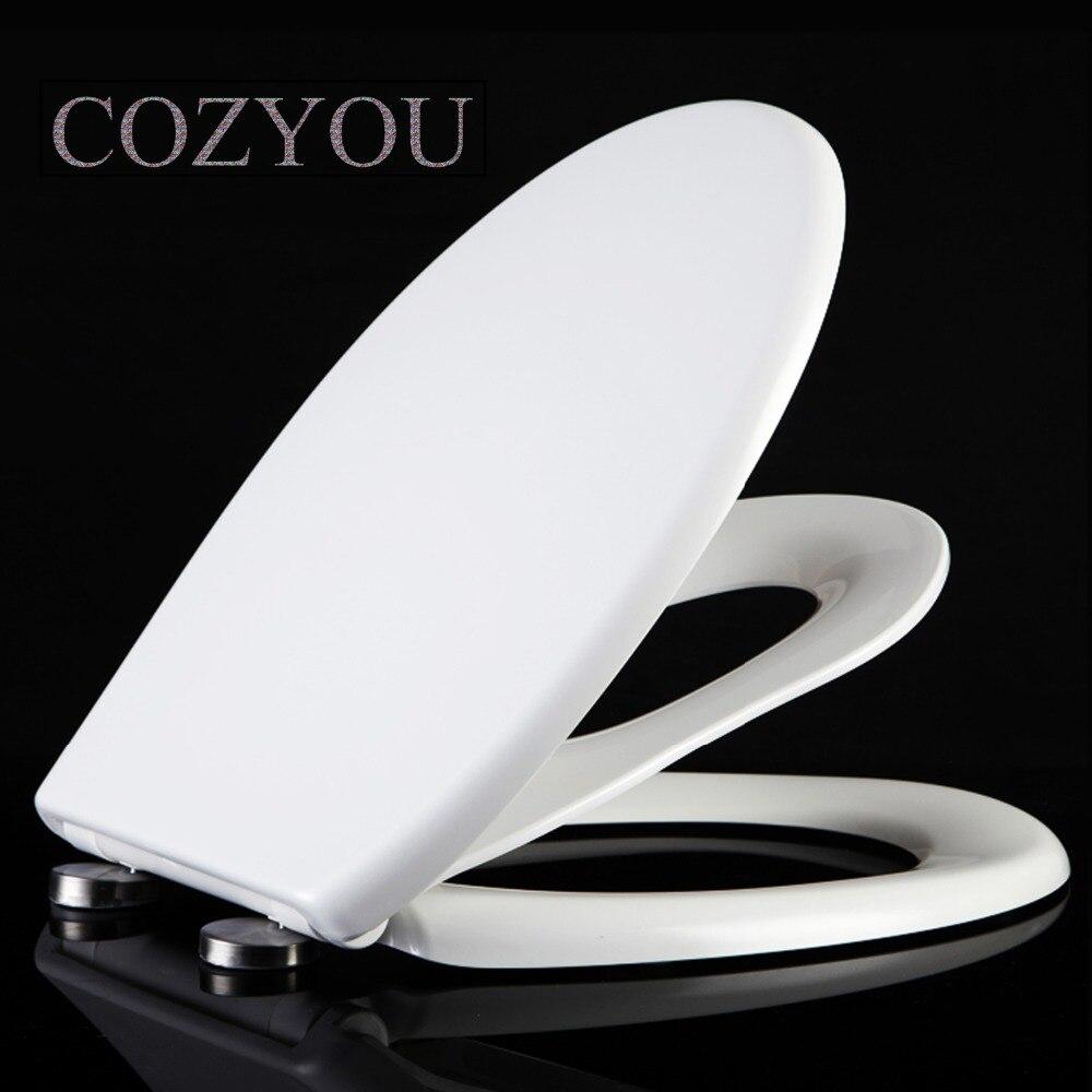 Dupla camada higiênico tampa de assento do Vaso Sanitário para crianças e adultos forma Redonda fechamento lento Em Silêncio, largura 35-38 centímetros, comprimento 40-48cm COZYOU