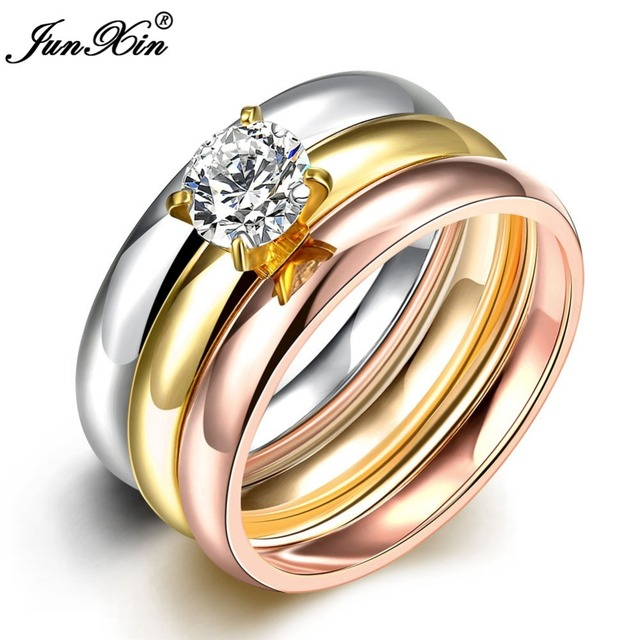 JUNXIN Latest Fashion Male Female Gold Stainless Steel Ring Set With