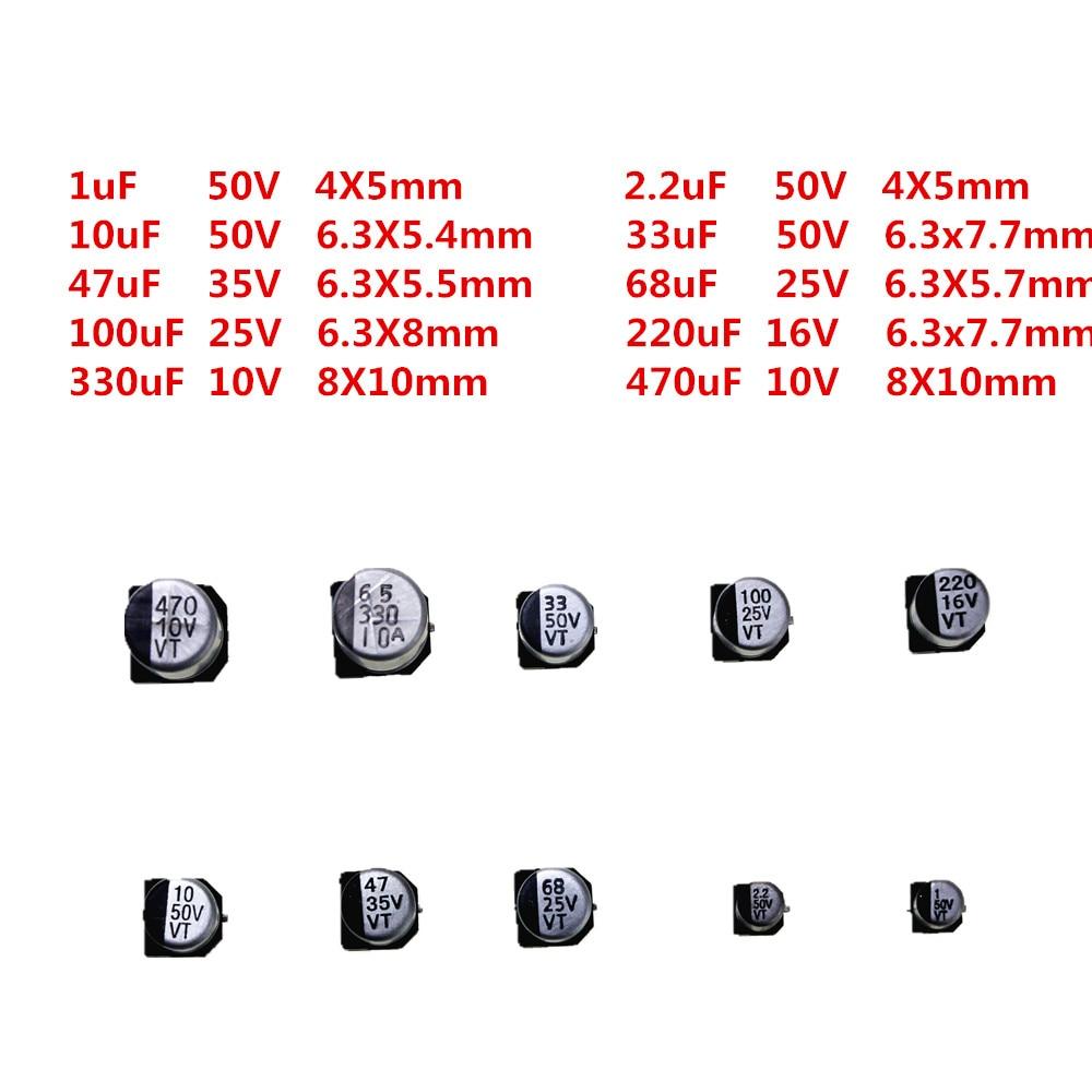 200pcs 10 Types Smd Electrolytic Capacitor Assorted Diy Kit 10v50v