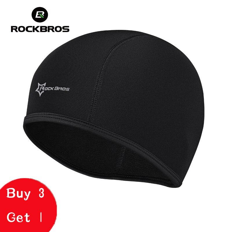 Gorra de ciclismo ROCKBROS para deportes al aire libre, bicicleta para correr, esquiar, Polar, Bandana resistente al viento, máscara de invierno para hombres, sombrero negro para ciclismo