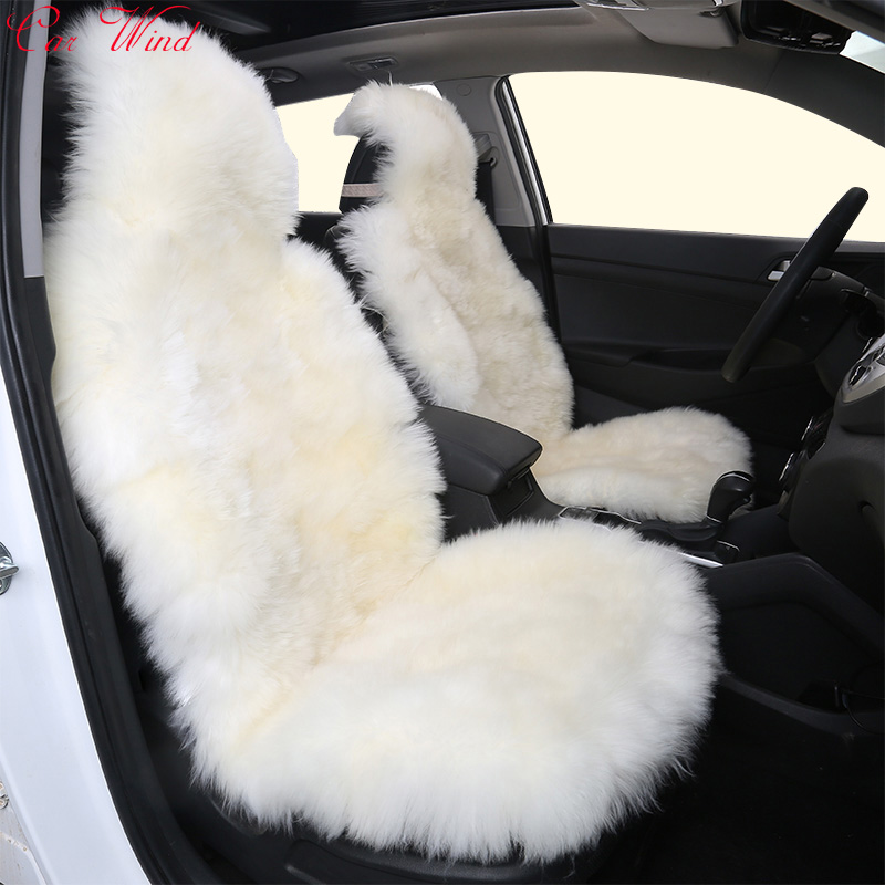 Car Wind 1 PCS Universal Fur car seat cover 100% Natural Australian sheepskin seat covers black interior accessories cushion kkysyelva universal leather car seat cover set for toyota skoda auto driver seat cushion interior accessories