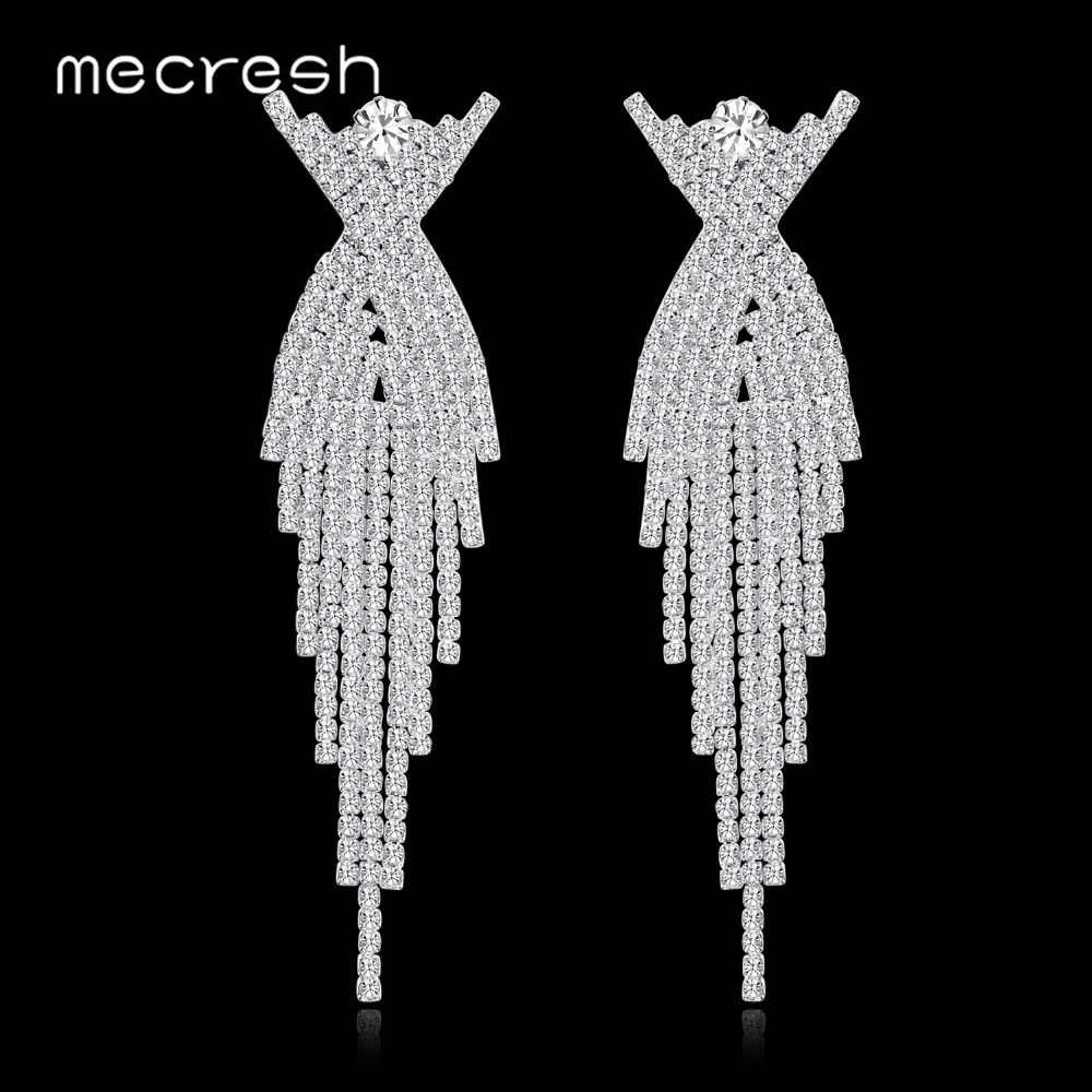 Mecresh Silver Color Bride Long Hanging Earrings Crystal Rhinestone Tassel Earrings for Women Wedding Engagement Jewelry EH1175