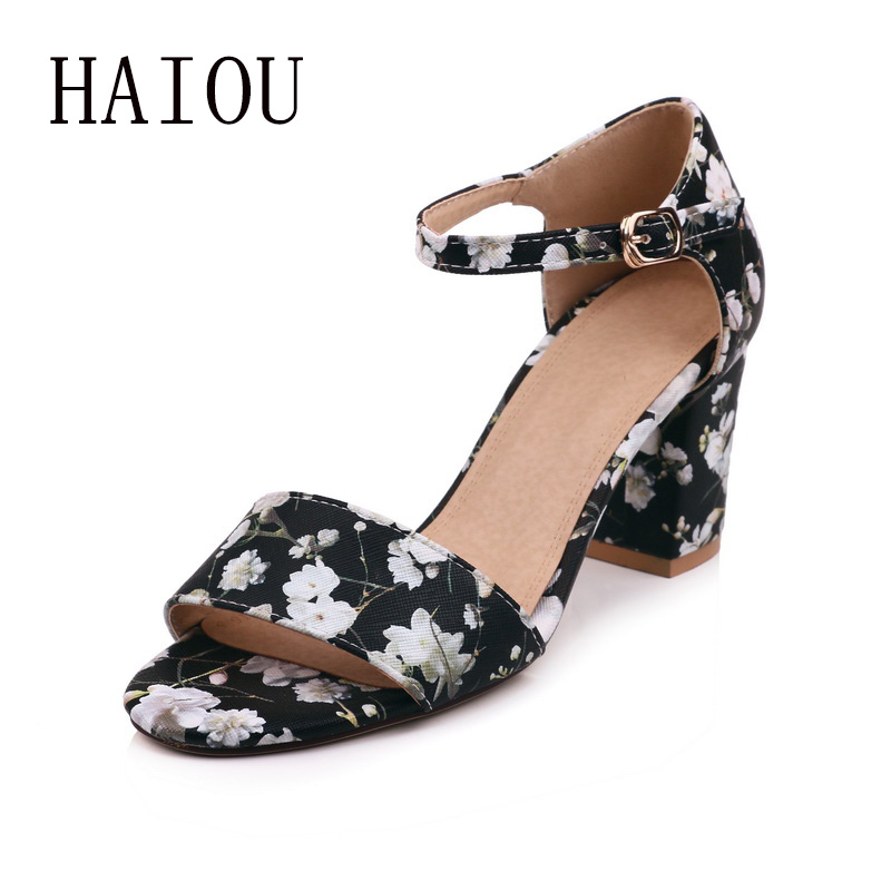 a97e05e7edb4 HAIOU brands 2017 ladies sandals elegant Women Sweet Buckle shoes Open Toe  Wedges Sandals low heels black sandals sexy flowers-in Women s Sandals from  Shoes ...