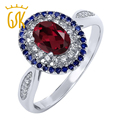 GemStoneKing 1.50 Ct Oval Natural Red Rhodolite Garnet Promise Ring Solid 925 Sterling Silver Women's Ring