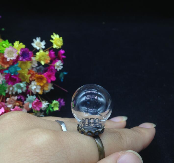 500 шт. 20*12 мм Ручной скорректированы стеклянный шар бронзовая покрытием кольцо кружева базовый набор стекла глобальный банки стеклянная пробирка крышка купола diy кольца