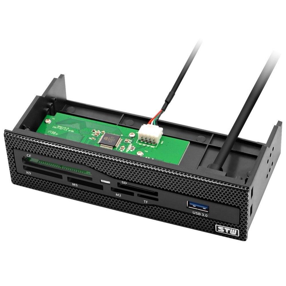 Lector de tarjetas interno de 5,25 pulgadas para ordenador con USB 3,0 SD Micro SD CF XD MS M2 TF Panel frontal lector de tarjetas de memoria todo en 1 Concentrador micro USB 3,0 Combo 3 puertos Spliter adaptador de corriente TF/SD/MS/M2 lector de tarjetas todo en uno PC Accesorios de ordenador