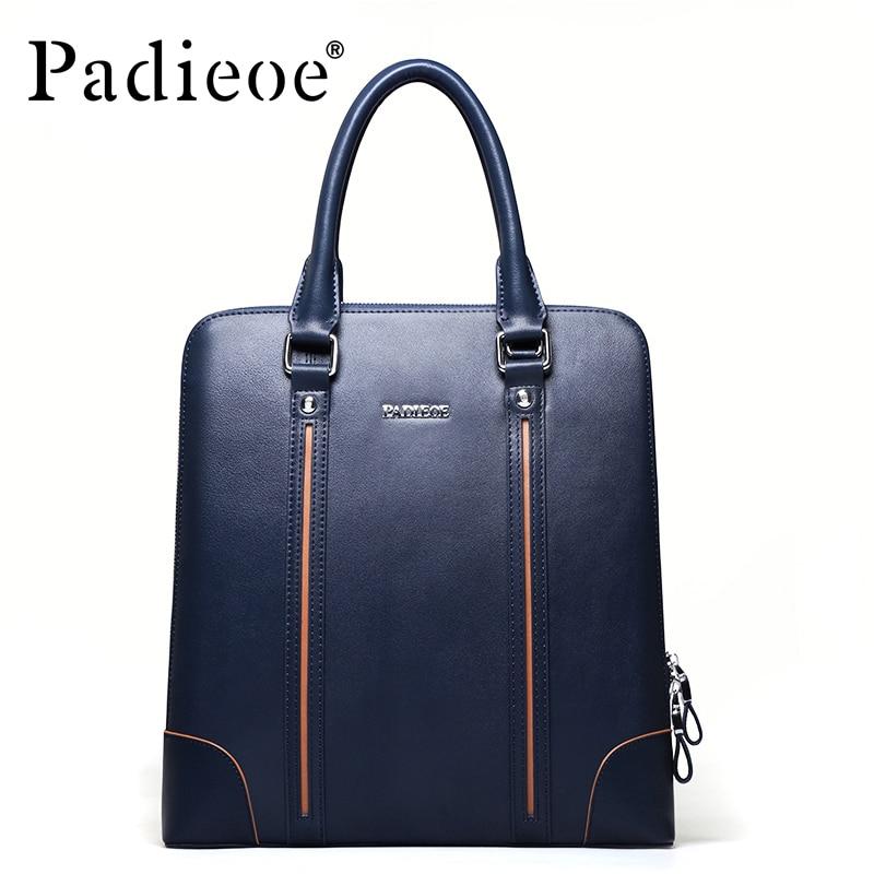 ФОТО Padieoe New Arrival Leather Briefcase for Business Men High Quaility Messenger Bag Split Cow Leather Male Shoulder Bags Handbag