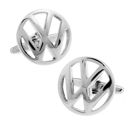 New high quality copper round silver WW Volkswagen logo Cufflinks fashion men's French Cufflinks
