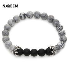 NADEEM Natural Green Tiger Eye,Lapis,Matte Stone,Map Stone Mens Womens Bead Bracelet,Two Crown Charms Elastic Bead Bracelet