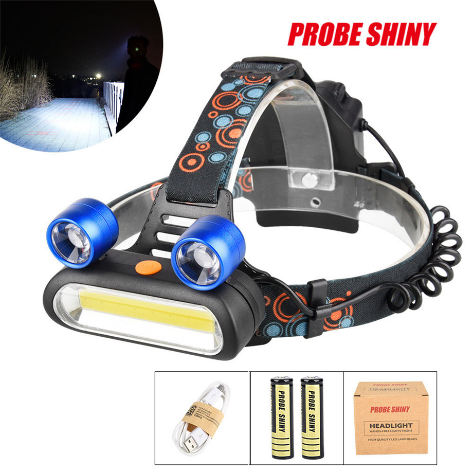 PROBE SHINY 2017 15000LM 2x XM-L T6 LED +COB Rechargeable USB 18650 Headlamp Head Light Torch Blue Dropshipping #1101
