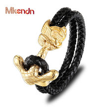 MKENDN New Fashion Ride To Live Gold Anchor Clasp Black Braided Genuine Leather Bracelet for Men Jewelry Stainless Steel Bangles(China)