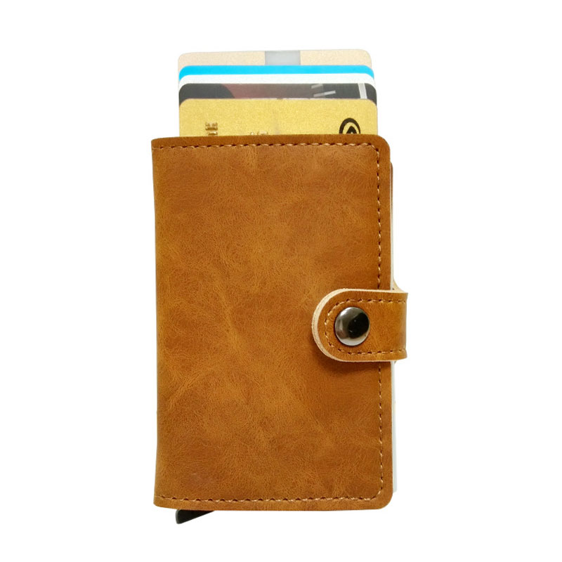RFID Vintage Leather ID Credit Card Holder Male Automatic Aluminum Alloy Hasp Business Multifunction Cardholder Wallet for Men