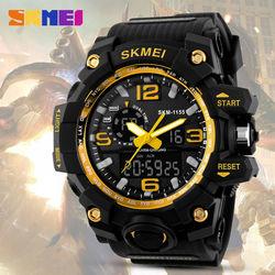 Skmei duże pokrętło Shock zegarki mężczyźni cyfrowy Led 50 m wodoodporny wojskowe armii zewnątrz zegarek sportowy alarm chronometr zegarki na rękę 1155 w Zegarki sportowe od Zegarki na