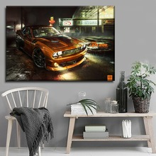 Modern Studio Wall Decorative Artwork 1 Piece In the Rain Orange Vehicle Picture Canvas Print Dodge Challenger Poster