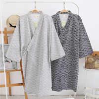Hommes coton gaze Robe lâche mince Style peignoir japonais Kimono vêtements de nuit hommes à capuche Robes v-cou pyjama Robe de bain