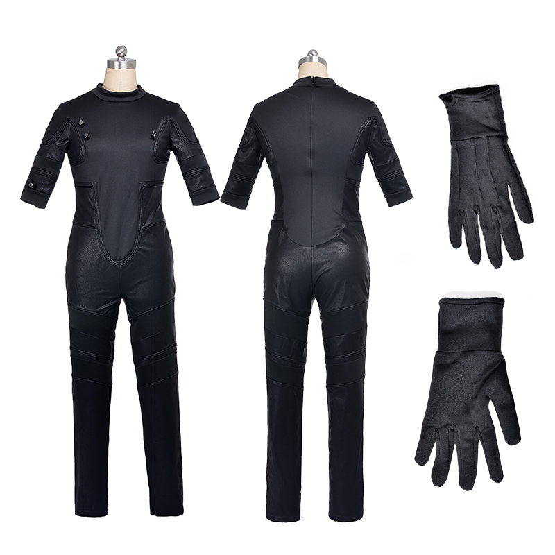 Newest Marvel Superhero Fantastic Invisible Woman jumpsuits+Gloves for Adult  Black Cosplay Costume For Woman