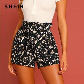 SHEIN Boho Paperbag Tie Waist Flower Print Straight Leg Shorts Women Summer Zipper Fly High Waist Casual Vacation Bottoms