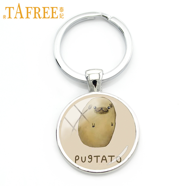 TAFREE Lovely Animal keychain cute Rabbit Pug Wolf Panda Totoro art photo Exquisite workmanship 2017 new fashion jewelry A519