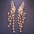 Blucome marca de diseño de lujo de largo pendientes ajuste del diente piedras cz zirconia pendientes de cobre max brincos bijoux para la mujer
