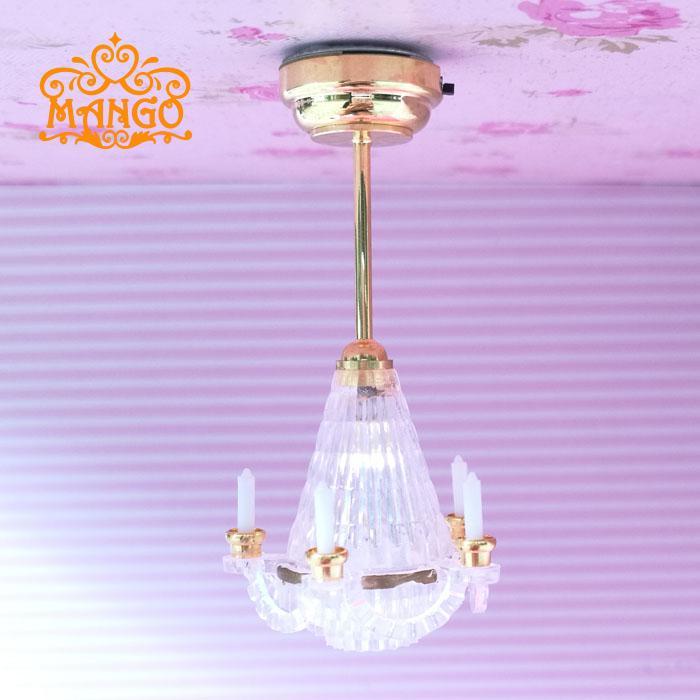 تعمل 1:12 دمية Miniaturescale سقف الشموع ضوء مصباح LED بطارية تعمل
