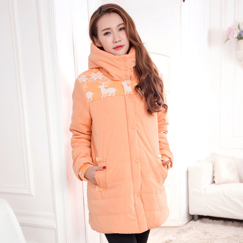 Winter Maternity clothing wadded jacket thickening thermal cotton-padded jacket coat for pregnant women outerwear 2017 new winter women wadded jacket outerwear plus size hooded loose thickening casual cotton wadded coat parkas student ws299