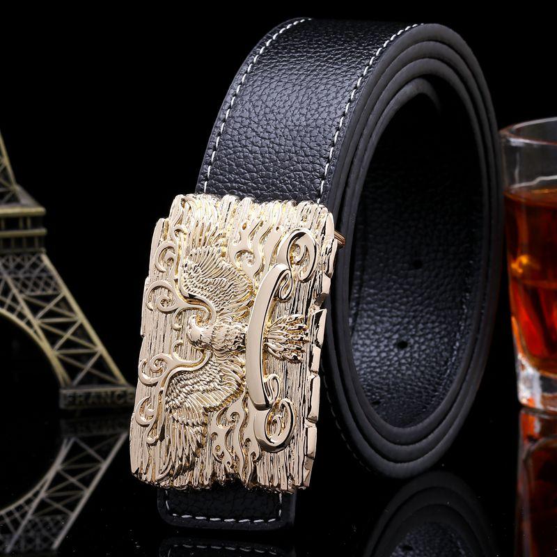 Marke heißer verkauf hohe qualität hüftgurt hawk vogue gold gürtel glatte schnalle gürtel männer luxus designer gürtel jeans schwarz 120 cm