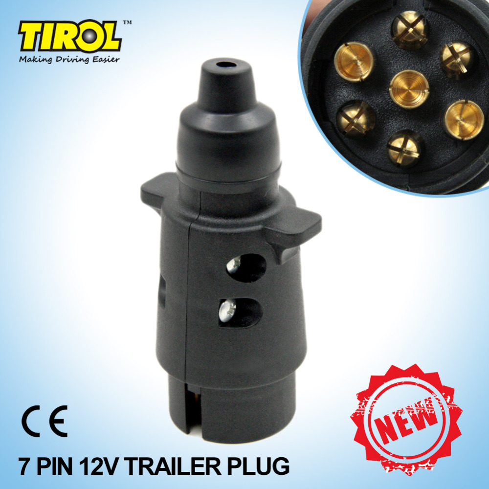 TIROL New 7-Pin Trailer Plug Black Frosted Materials 7-Pole Trailer Wiring Connector 12V Towbar Towing Plug N Type T22777b