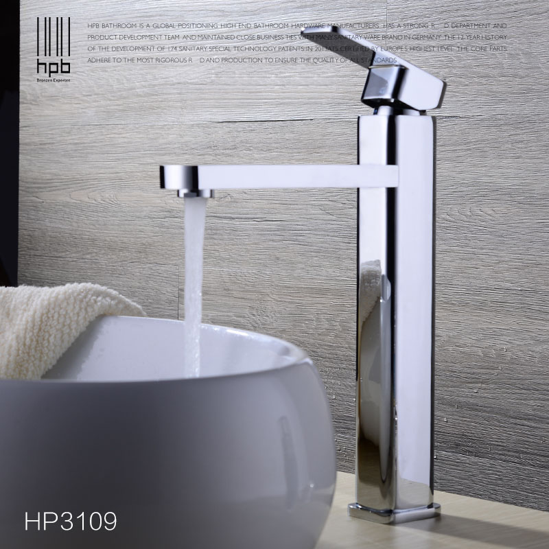 HPB Brass Tall Basin Bathroom Faucet Deck Mounted Hot and Cold Water Single hole Sink Tap Mixer torneira HP3109 hpb square brass basin faucet hot and cold water single hole handle sink bathroom faucets mixer tap grifos para lavabos hp3037